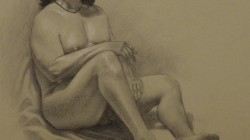 Male Nude Study - Black and white charcoal pencils on paper, 19