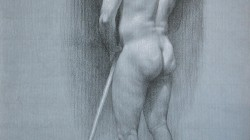 Male Nude Study - Carbon pencil and white pastel pencil on paper, 20