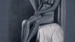 Female Nude Study - Charcoal pencil and white pastel pencil on paper, 20